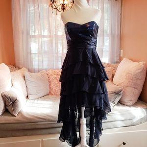 Dark Blue Formal Strapless High Low Dress